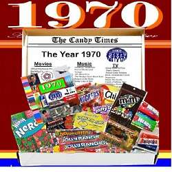 Retro 1970 Candy Chocolate Box with 1970 Highlights
