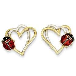 14K Two Tone Gold Ladybug Earrings