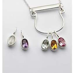 Family Birthstone Drop Pendant Necklace