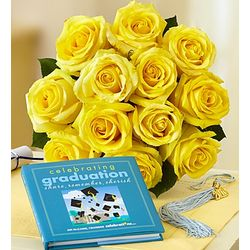 Sunshine Roses for Graduation with Book