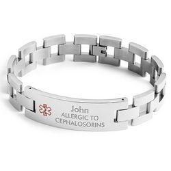 Men's Large Link Medical ID Bracelet