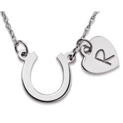 Sterling Silver Horseshoe and Initial Heart Necklace