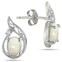 Oval Opal and Diamond Earrings in Sterling Silver