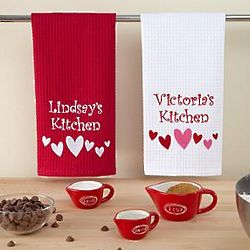 Personalized Hearts Waffle Weave Hand Towel