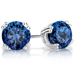 Sterling Silver 6mm Created Sapphire Stud Earrings