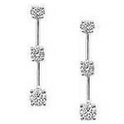 1/2 ct Three-Stone Diamond Drop Earrings