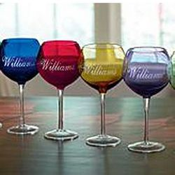 Personalized Colored Balloon Wine Glasses