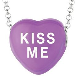 Purple Kiss Me Sweethearts Necklace in Sterling Silver