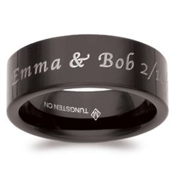 Men's Black Flat Tungsten Top Engraved Message Band