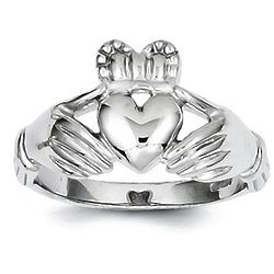 14K White or Yellow Gold Men's Irish Claddagh Ring