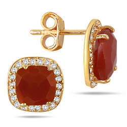 Cushion Cut Carnelian and White Topaz Earrings in 18 Karat Gold