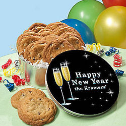 Personalized New Year's Toast Cookie Tin