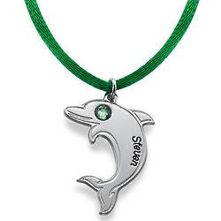 Dolphin Necklace in Sterling Silver with Swarovski Birthstone Eye