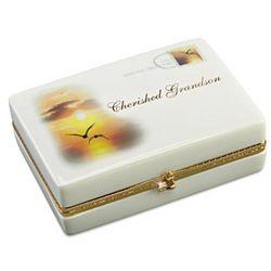 Cherished Grandson Letter-Shaped Porcelain Music Box