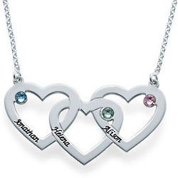 Intertwined 3 Hearts Necklace with Names and Birthstones