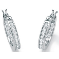Cubic Zirconia Platinum over Sterling Silver Hoop Earrings