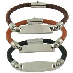 Women's Braided Leather Engravable ID Bracelet