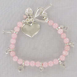 Engraved Rose Quartz Love Bracelet