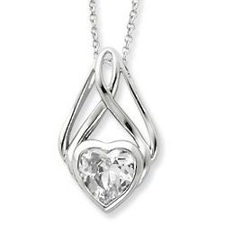 Cubic Zirconia Gemstone Heart Necklace in Sterling Silver