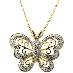 Diamond Accent Butterfly Pendant