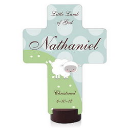 Personalized Little Lamb Cross Plaque