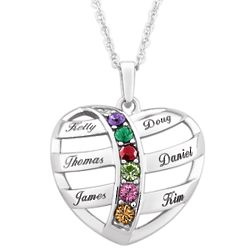 Sterling Silver Mother's Name and Birthstone Heart Necklace