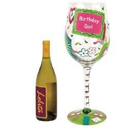 Giant Birthday Girl Too Wine Glass