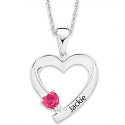 Personalized Sterling Silver Name and Birthstone Heart Necklace