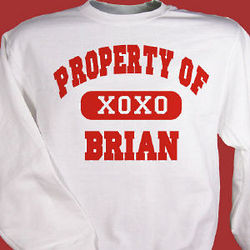 Property of My Valentine Personalized Sweatshirt