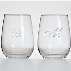 Stemless White Wine Glass Set