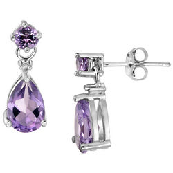 Amethyst Teardrop Earrings with Diamond Accent