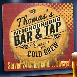 Personalized Served 24-7 Wooden Bar Sign