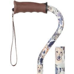 Dogs Pattern Offset Walking Cane with Comfort Gel Grip