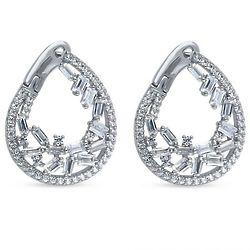 Baguette Cubic Zirconia Teardrop Cluster Silver Hoop Earrings