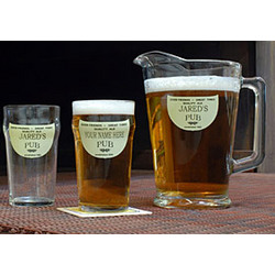 Personalized Good Friends Lager Glasses & Pitcher Set