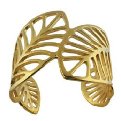 Golden Leaf Stainless Steel Fashion Cuff Bracelet