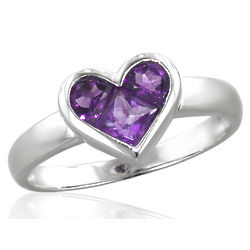 14K White Gold Amethyst Heart Shaped Ring