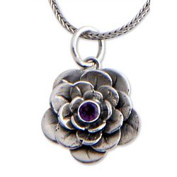 Holy Lotus Amethyst Flower Necklace
