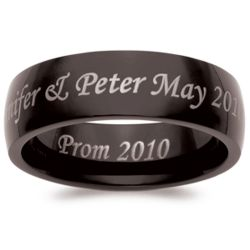 Men's Black Stainless Steel Engraved Message Band