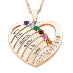 14K Gold Plated Mother's Birthstone and Name Heart Necklace