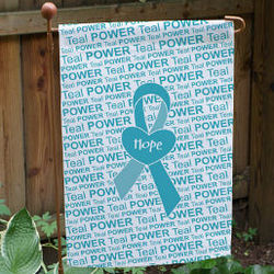 Ovarian & Cervical Cancer Awareness Ribbon Garden Flag