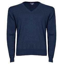 Men's Navy Pima Cotton V-Neck Sweater