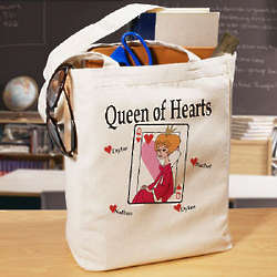 Queen of Hearts Personalized Canvas Valentine Tote Bag