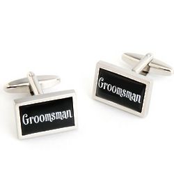 Groomsman Cuff Links with Personalized Case