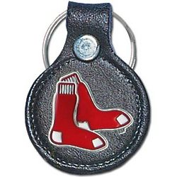 Boston Red Sox MLB Leather and Pewter Key Ring