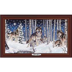 Illuminated Framed Wolf Art Canvas Print