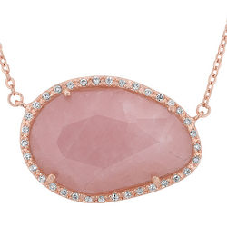 Rose Quartz Pendant Necklace with Swarovski Elements