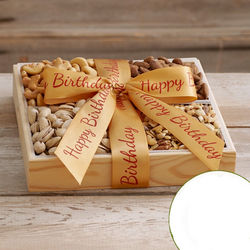 Organic Dried Fruit and Nut Tray with Happy Birthday Ribbon