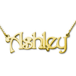 18 Karat Gold-Plated Personalized Name Necklace
