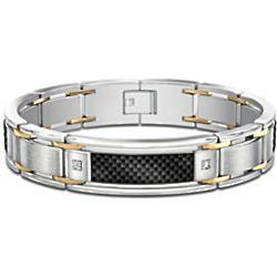 Men's Stainless Steel Black Carbon Fiber Diamond Accent Bracelet